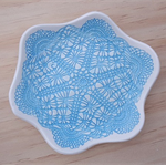 Porcelain doily jewellery dish, candle holder, ceramic bowl. Turquoise, blue.