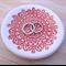 Pastel red porcelain ring holder, jewellery holder. Ceramic bowl.