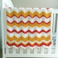 mustard, yellow, red, zig-zag, chevron, crochet blanket, acrylic, bedding