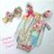 """ Springtime ""  Garden Floral Playsuit  and Bowed Headband"