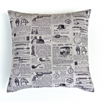 Vintage Newspaper Cotton Cushion Cover in Black and Grey