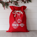 Large Personalised Santa Sack Red -  Christmas Baubles