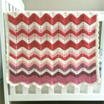 cherry, purple, cream zig-zag, chevron, crochet blanket, acrylic, bedding