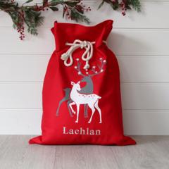 Large Personalised Santa Sack -  Reindeer Red
