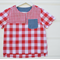 Boys casual shirt - red and white gingham top for boys. boys clothes