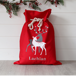 Large Personalised Santa Sack -  Reindeer Red