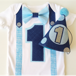 Baby Boys Classic Navy and Sky Blue 1st Birthday Onesie and Party Hat.