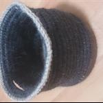 Handmade Round Woolen Crochet Basket in Gray/Beige