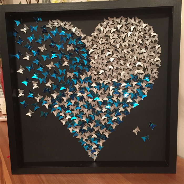 Butterfly Heart Frame Wall Art Sparkly Silver Heart In 3d Wooden