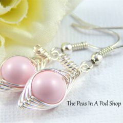 Peas In A Pod Earrings,One Pea In A Pod Earrings Choose Your Colour Pearl