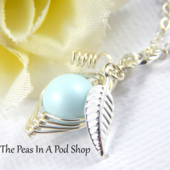 Peas in a pod Necklace, one pea in a pod necklace Sterling Silver Chain