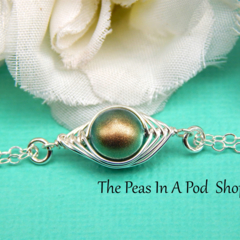 one pea in a pod bracelet, sterling silver double strand bracelet
