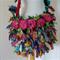 recycled silk ribbon boho chic tattered little shoulder bag