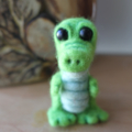 Needle felt OOAK crocodile miniature