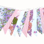 Vintage Retro Spring Floral Pink & Lilac with Lace Flag Bunting. Wedding, Party