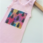 Pink Watercolour Rainbow Pineapple Singlet, Appliqued Singlet, Cotton, Size 00