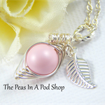 Peas in a pod, one pea in a pod necklace, pastel rose, new mother gift