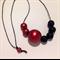 Metallic Red & Black Night #stella Wood Bead Necklace