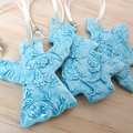 Christmas decorations, ornaments. Blue ceramic angel, tree. Teachers gift.