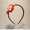 Head band red and white love flower and button
