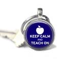 Keep Calm and Teach on silver keyring - 2.5cm. Teacher gift keyring.