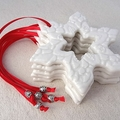 Christmas decorations, ornaments. White ceramic stars. Teachers gift.