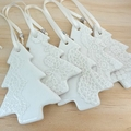Christmas decorations, ornaments. White ceramic trees. Teachers gift.