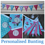 Personalised Bunting pink/pale blue floral
