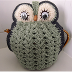 Owl Tea Cosy sage green and grey - ready to ship