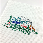 A Decorative Embroidered Christmas Tea Towel, Christmas or Thank you Gift.