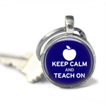 Keep Calm and Teach on silver keyring - 2.5cm. Teacher gift keyring.