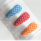 Orange, blue and red polka dot baby snap clips