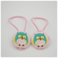 Fabric Covered Button Hair  Ties. OWL design. Pink Turquoise