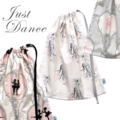 Large Ballet Bag. Drawstring Bag. Cream Pink & Grey. Ballet Slippers Dancewear.