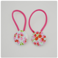 Fabric Covered Button Hair  Ties. FLORAL/FLOWERS  design. Pink turquoise