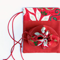 Christmas Fabric Gift Bags Set of 2 Poinsettia and Holly Green and Red