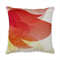 Bright floral cushion – red and yellow flower, blossom, pom pom trim, summer