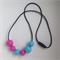 Magenta & Light Blue #daisy Wood Bead Necklace