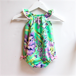 Bright Teal & Purple Amy Butler Baby Girl Playsuit / Romper