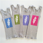 Fun Brightly Coloured Baby Singlets, Screen printed White Feather, size 0
