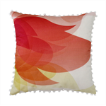 Red and Yellow Flower Pillow – summer, blossom, print, pom pom, cushion cover,