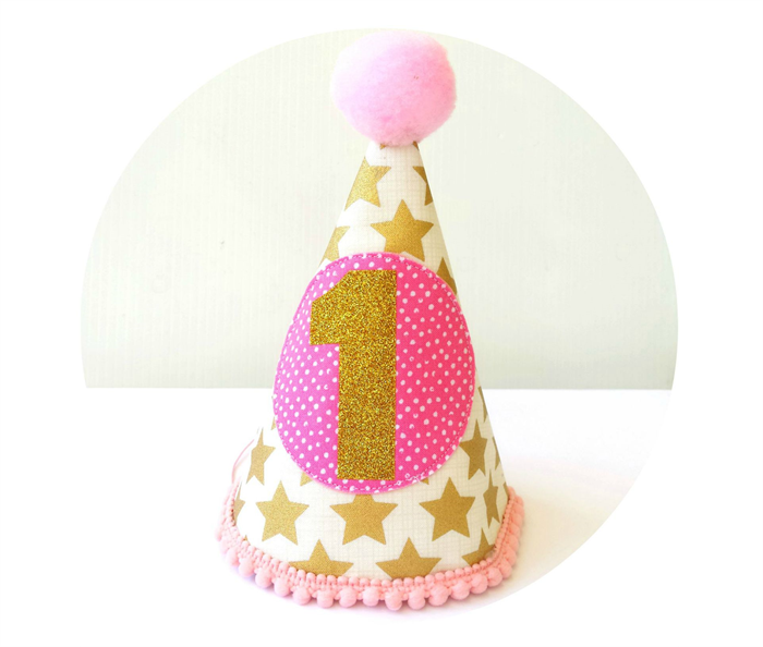 Baby Girl 1st Birthday Party Outfit Hat Pink And Gold Stars