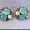 Vintage Collage Earring, Vintage Bridesmaid Earrings, Mint Earring