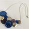 Sleek in Blue & Silver Button Necklace