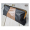 Black & Camel leather clasp clutch