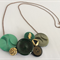 Bold in Green and Gold Button Necklace