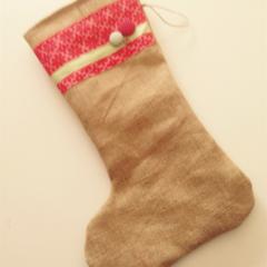 Christmas stocking hessian burlap red green gift
