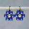 Sapphire Flower Cluster Earrings, Swarovski Sapphire Earrings