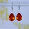 Tangerine Swarovski Teardrop Earring, Swarovski Earring