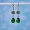 Fern Green Swarovski Flower Earrings, Green Flower Earring